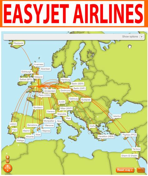 airlines central: Easyjet Airlines routes map