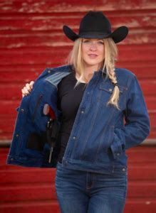 Wyoming Traders Womens Snap Up Conceal Carry Blue Denim